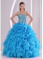 Blue Sweetheart Organza 2013 Quinceanera Dresses with Fitted Waist