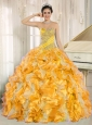 Custom Made For 2013 Yellow Puffy Quinceanera Dresses with Beaded and Ruffles