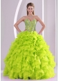 Cute Ball Gown Ruffles and Beading 2013 Fall Pretty Quinceanera Dresses in Yellow Green