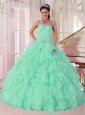 Discount Aqua Blue Ball Gown Strapless Ruching Organza Beading Pretty Quinceanera Dresses,Sweet and fabulous! Are you looking for your dream dress for the sweet 15/16. This must be just the one for you!It features a fashionable strapless neckline with clear beading encrusted on the corset bodice. Ruffled skirt makes the gown puffy and flattering.A lace up back closure the look.