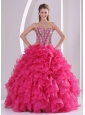 Hot Pink Ball Gown Sweetheart Ruffles and Beading Long Organza Quinceanera Dresses 2014