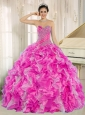 Hot Pink Beaded and Ruffles Custom Made For 2013 15 Quinceanera