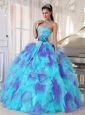 2014 Aqua and Purple Organza Appliques Decorate Cute Quinceanera Dresses