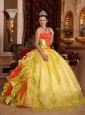 2014 Ball Gown Strapless Rufles Organza Embroidery Gold Quinceanera Dresses 2014