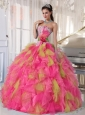 Appliques Organza Sweetheart Perfect Quinceanera Dresses with Detachable