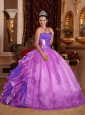 Ball Gown Strapless Ruffles and Beading Lilac 2014 Perfect Quinceanera Dresses