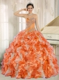 Beaded and Ruffles Custom Made For 2013 Orange Sweetheart Cute Quinceanera Dresses