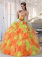 Hand Made Flower and Ruffles Sweetheart Long Cute Quinceanera Dresses