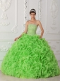 Organza Spring Green Ball Gown Strapless Quinceanera Dresses 2014 with Beading
