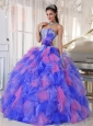 Appliques and Flowers Organza Popular Quinceanera Dresses for Sweet 16