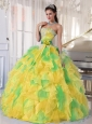 Ball Gown Appliques and Ruffles Organza Long Sweet 16 Dresses,This gorgeous quinceanera ball gown features a fitted, strapless  neckline accented with appliques in the bodice.The waist of this ruffled quinceanera dress was wrapped with ruched ribbons around waist which is decorated with a rosette flower.