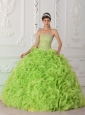 Ball Gown Strapless Organza Yellow Green Popular Quinceanera Dresses with Beading