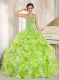Beaded and Ruffles Custom Made For Yellow Green Sweet 16 Dresses,This fantastic apple green quinceanera dress features a fitted bodice with ruching and exquisite rhinestones. The flirty skirt in luxurious tulle is voluminous with swirling tiers of ruffles in multiple colors for a festive look. A lace up corset style closure in the back secures the dress in place. So gorgeous and perfect! You are the Queen in the dance floor.