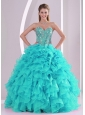 Elegant Aqua Blue Ball Gown Sweetheart Ruffles and Beaded Decorate Sweet 16 Dresses in Sweet