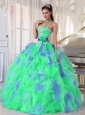Green and Blue Sweetehart Ruffles and Appliques Popular Quinceanera Dresses