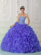 Organza Purple Discount Quinceanera Dresses with Ball Gown Strapless Beading
