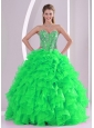 Sweetheart Ruffles and Beading Floor-length Popular Quinceanera Dresses in Sweet 16