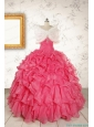 2015 Pretty Beading and Ruffles Hot Pink Quinceanera Dresses with Strapless