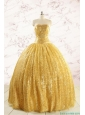 Romantic Sequins Yellow Quinceanera Dress with Strapless