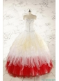 Unique Multi Color Sweetheart Ruffled Quinceanera Dresses wth Beading