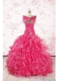 2015 Sweetheart Sequins Ruffles Unique Hot Pink Quinceanera Dresses