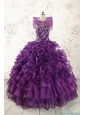 Beautiful Appliques Purple Strapless 2015 Quinceanera Dresses