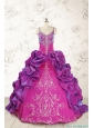 Classic Ball Gown Embroidery Court Train Quinceanera Dresses in Purple