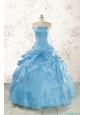 2015 Aqua Blue Hot Sale Appliques Quinceanera Dresses
