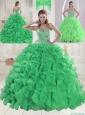 Cheap Sweetheart Brush Train Green Quinceanera Dresses in Sweet 16