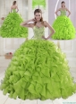 Yellow Green Sweetheart Brush Train Quinceanera Dresses
