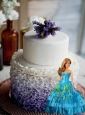 Blue Quinceanera Dress For Quinceanera Doll With Beading And Ruffled Layers