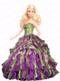 Multi-color Quinceanera Doll Dress With Beading And Ruffles