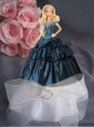 Navy Blue Quinceanera Dress For Quinceanera Doll With Appliques And Hand Made Flowers