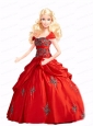Red Quinceanera Doll Dress With Appliques And Pick-ups