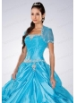 Sky Blue Brand New Organza Quinceanera Jacket With Appliques