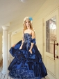 Appliques And Pick-ups Quinceanera Dress For Quinceanera Doll In Navy Blue
