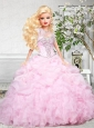 Baby Pink Quinceanera Dress For Quinceanera Doll With Beading And Ruffles