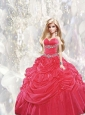 Beading And Pick-ups Quinceanera Dress For Quinceanera Doll In Red