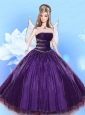 Beading Quinceanera Dress For Quinceanera Doll In Dark Purple