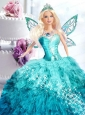 Blue Dress For Quinceanera Doll With Appliques On Quinceanera Party