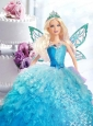 Blue Dress For Quinceanera Doll With Beading And Ruffles