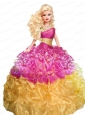 Multi-color Quinceanera Doll Dress With Beading And Pick-ups