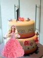 Peach Quinceanera Dress For Quinceanera Doll With Appliques And Hand Made Flowers