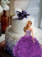 Purple Dress Made To Fit The Quinceanera Doll With Appliques And Ruffles
