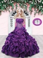 Purple Quinceanera Dress For Quinceanera Doll With Pick-ups And Beading