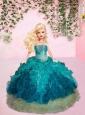 Turquiose Quinceanera Dress For Quinceanera Doll With Ruffles And Beading