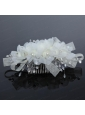 2014 Simple White Tulle Imitation Pearls Hair Combs