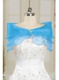 Fall Organza Beading Shawls in Baby Blue