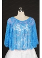 2014 Blue Beading Lace Hot Sale Wraps for Wedding Party