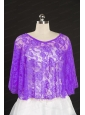 2014 Eggplant Purple Hot Sale Lace Wraps with Beading